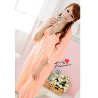 Harga Loveena Ice Silk Robe Pyjamas Plus Size Lingerie P0309 (Orange)