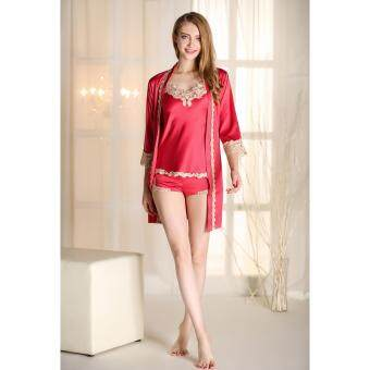 Harga Sexy Womens Pajamas Faux Silk Robe Suit Ladies Spaghetti Strap Robe+Top+Shorts Lace Splicing Indoor Clothing Gowns Set(Red)