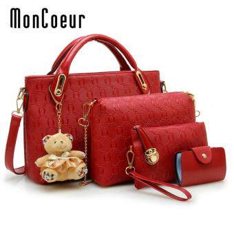 Harga MonCoeur B04 Set of 5 in 1 Luxury Faux Crocodile Leather HandBags (Red)