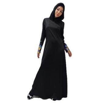 Harga Natasha Flower Sequin Muslimah Dress / Jubah / Satin (Glossy Black)