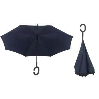 Harga 4CONNECT High Quality Unique Inverted Inside-Out Umbrella With C-Hook Handle - DARK BLUE