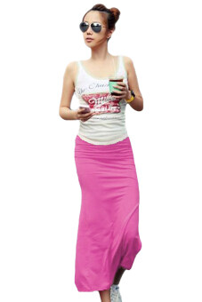Harga Linemart Straight Maxi Skirts (Rose Red)