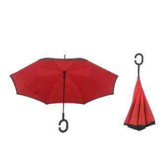 Harga 4CONNECT High Quality Unique Inverted Inside-Out Umbrella With C-Hook Handle - RED