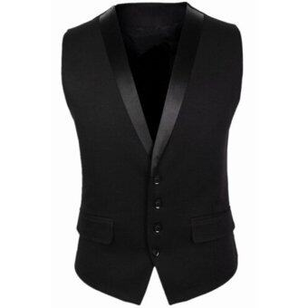 Harga Stylish Men Jacket Suit Vest Slim Fit Vest Casual Business Formal Vest Waistcoat