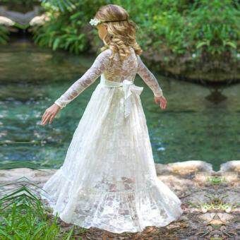 Harga Girls Long Sleeve Lace Wedding Bridesmaid Maxi Dress Princess Hollow- Out Bow Gown Robe Dress Children Formal Evening Party Prom Ball Dress