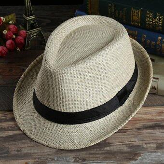 Harga Unisex Summer Beach Jazz Hat Wide Brim Beach Cap Sun Trilby Fedora Straw Hat-Light Beige