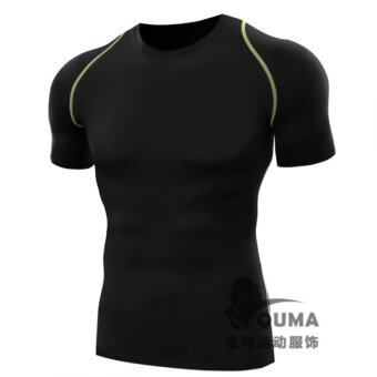 Harga TF Male PRO fitness sports tights Quick dry compression elastic short sleeved T-shirt(Black)