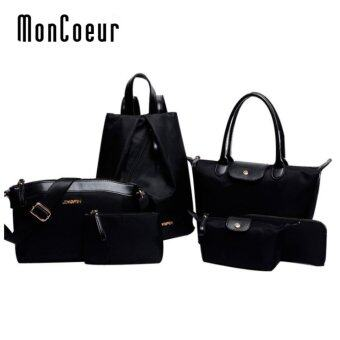 Harga MonCoeur D005 Set of 6 in 1 Woman Premium Nylon Handbag (Black)