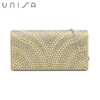 Harga UNISA Dinner Clutch With Glittering Pearl & Crystal Embellishment (Gold)