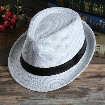 Harga Unisex Summer Beach Jazz Hat Wide Brim Beach Cap Sun Trilby Fedora Straw Hat-White