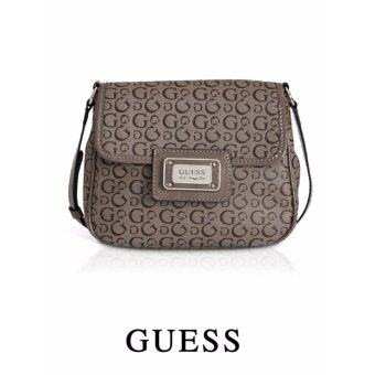 Harga AUTHENTIC GUESS EMBOSSED LOGO FLAP CROSSBODY (TAUPE)