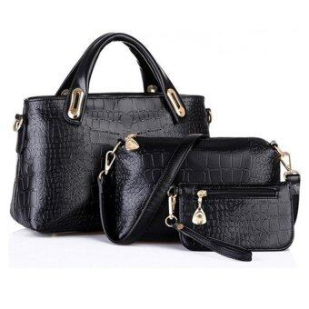 Harga Como Faux Crocodile Leather Bags Set of 3 (Black)