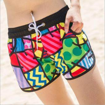 Harga Women Summer beach shorts quick drying couple beach pants cartoon shorts swim beach pants suit large size holiday swimsuit