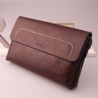 Harga Jeep New Men's Leather Handbag Men Purse Large Capacity Clutch Wallet Business Phone Bag (Brown)