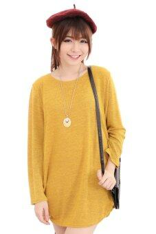Harga LuvClo (Fit M~3XL) Plain Color Easy Matching Long Sleeves Top (Yellow)