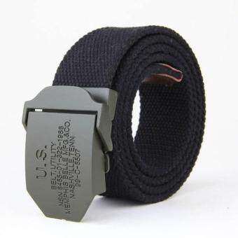 Harga Amart Men's Belts Canvas Belt Weave Buckle Casual Wild Automatic Belt(Black)
