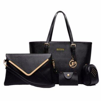 Harga MonCoeur D106 Set 4 in 1 Europe Design PU leather Handbag Set (Black)