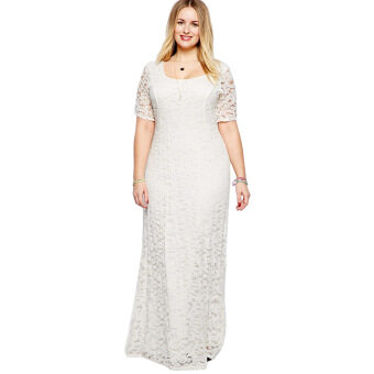 Harga Women Polyester Scoop Collar Lace Plus Size Dress (White)