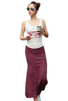 Harga Linemart Maxi Long Solid Skirt (Wine Red)