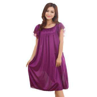 Harga Loveena Ice Silk Plus Size Pyjamas Sleepwear Dress L7070 (Purple)