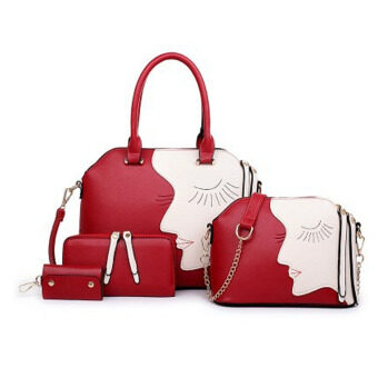 Harga 360DSC Fashionable Lady 4 Piece Beauty Face Lash Package Multiple Key Case Purse Shoulder Handbag - Red