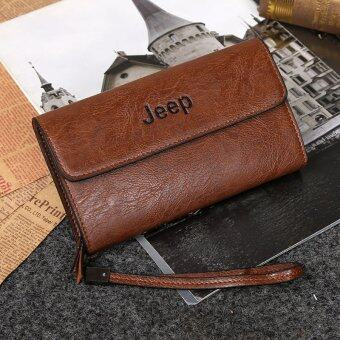 Harga Jeep Cowhide Leather Wallet Leisure Handbag Men Clutch Hand Bag Large Purse Card Holders (Khaki)