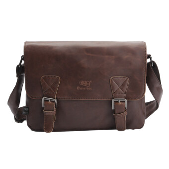 Harga 360DSC Three-box Fashion Business Men PU Leather Flap-Over Cross Body Bag Messenger Shoulder Bag - Dark Coffee
