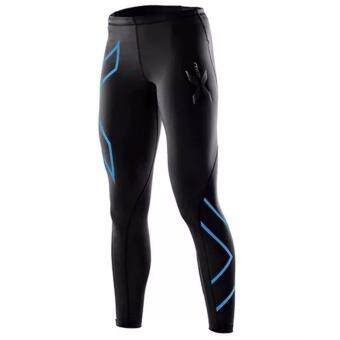 Harga men compression fitness tights male pants Joggers Superelastic stretch pants breathable Joggers trousers Blue