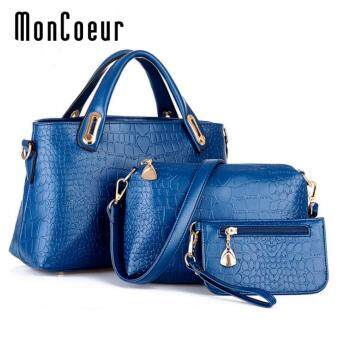 Harga MonCoeur A01 Set of 3 in 1 Luxury Faux Crocodile Leather HandBags (Aristocratic blue)