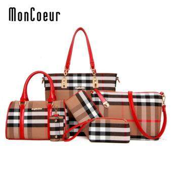 Harga MonCoeur D006 Set of 6 in 1 Woman European Design PU leather Handbag (Red)