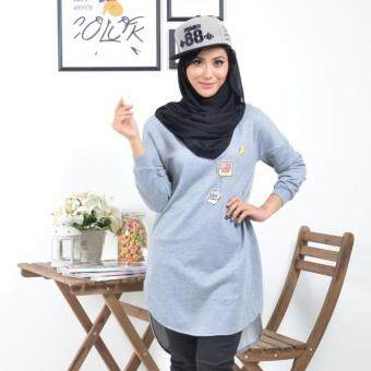 Harga Haniya Batwing Sleeve Design With Special Patching - Grey