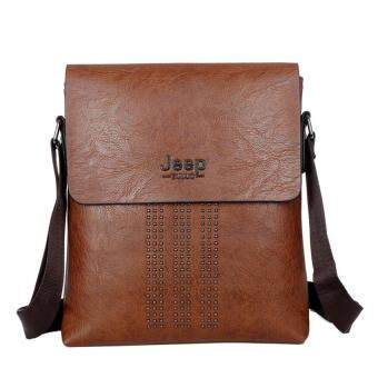 Harga Male Bag Shoulder Bag Men Shaft Aslant Package Crossbody Bag Cowhide Leather Tote Bag Leisure Small Bag Business Clamshell Packages (Brown)