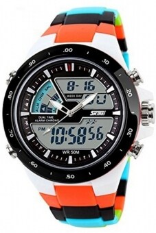 Harga Skmei 1016 Quartz Multicolor Silicone Army Waterproof Sport Digital Analog Watch(Int: One size)