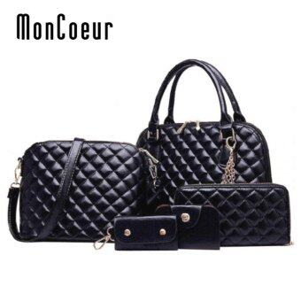 Harga MonCoeur D111 Set 5 in 1 Europe Design PU leather Handbag Set (Black)