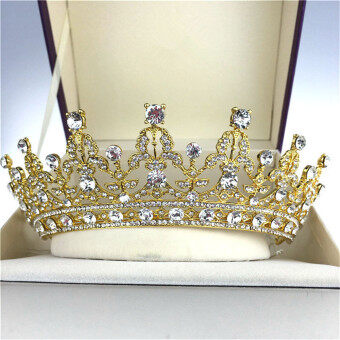 Harga Antique Wedding Bridal Crystal Headband Queen Crown Tiara Hair Accessories Prom Gold