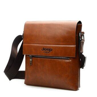 Harga New 2016 JEEP Handbag Men Leather Single Shoulder Bag Business Vertical Leisure Briefcase (Camel)