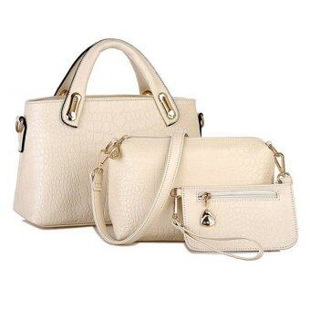 Harga Como Faux Crocodile Leather Bags Set of 3 (Beige)