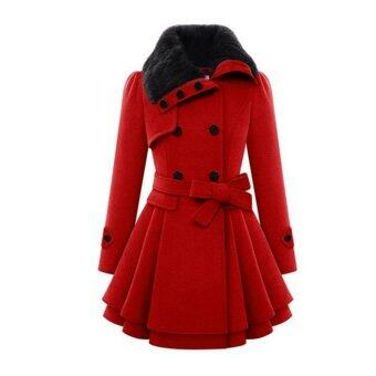 Harga Jo.In Stylish Lady Women Casual Long Sleeve Faux Fur Lapel Double-Breasted Thick Wool Coat Overcoat Jacket Trench Outwear