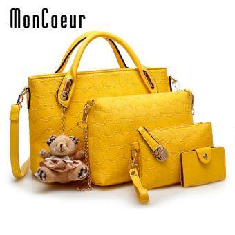 Harga MonCoeur B04 Set of 5 in 1 Luxury Faux Crocodile Leather HandBags (Yellow)