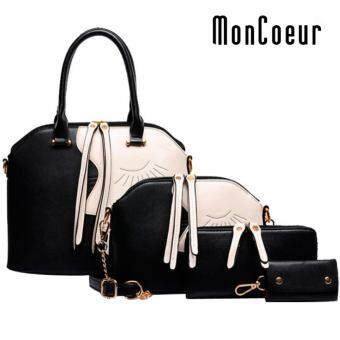 Harga MonCoeur D001 4 in 1 European Designer Leather Handbags 4 piece Set (Black)