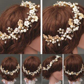 Harga New Bride Gold Headpiece Pearl Crystal Hair Accessory Wedding Party Hair Jewelry Gold