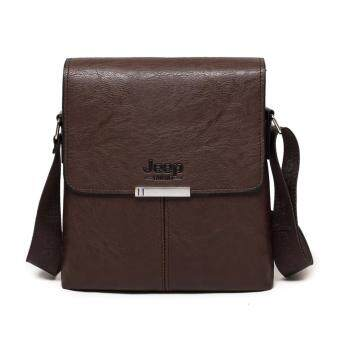 Harga Jeep Men's fashion Shoulder Bag Messenger Bag Mini Backpack Men's Vertical section Business Casual Bag(Brown)