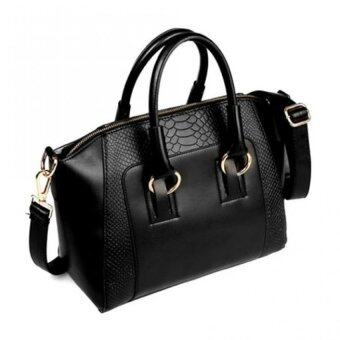 Harga Realeos Korean Faux Crocodile Leather Shopper Handbag (Elegant Black) - R332