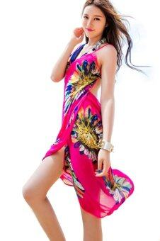 Harga Women Deep V Backless Wrap Chiffon Swimwear Bikini Beach Cover Up Sarong Beach Dress Rose Red