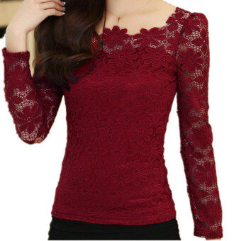 Harga New Women Fashion Lace Crochet Blouse Long-sleeved Lace Tops Plus Size M-5XL Red Wine