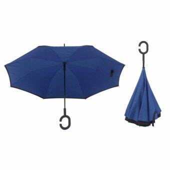 Harga 4CONNECT High Quality Unique Inverted Inside-Out Umbrella With C-Hook Handle - RUBY BLUE