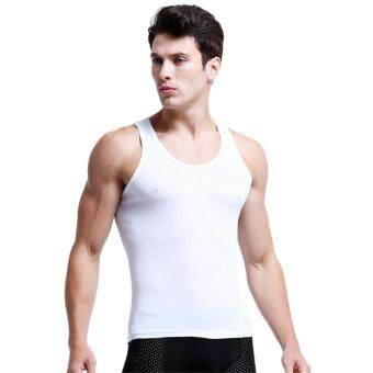 Harga Hot Sale Male Summer Solid Tank Tops Casual Sleeveless Vest Cotton Men's Fitness Bodybuilding Tanks Easy Wash Tops ( White )