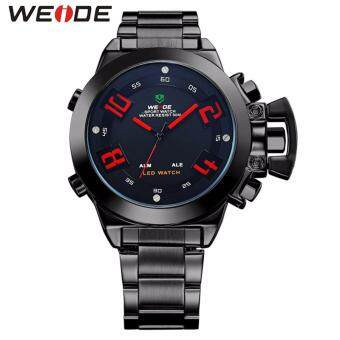 Harga Weide Dual Time Led Wh1008 Red Full Black Sport Digital Analog