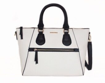 Harga Mango Fashion Pebbled Tote/Sling Handbag (White)