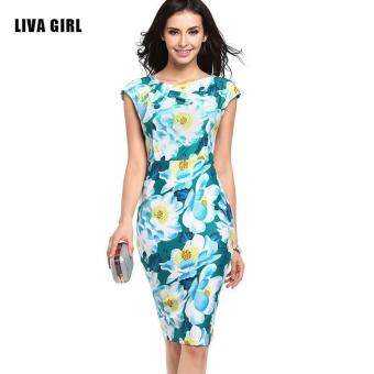 Harga Floral Print Knotted Midi Pencil Dress-Green